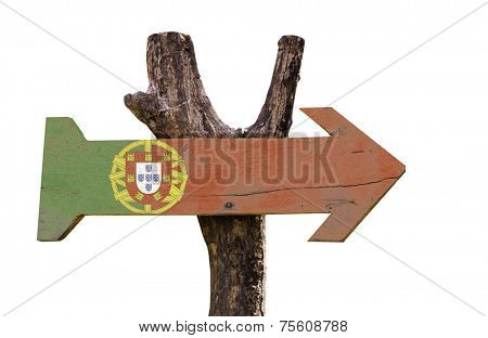 Portugal wooden sign isolated on white background