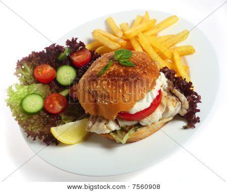 Fish Burger Dinner Plate
