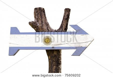 Argentina wooden sign isolated on white background