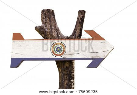 Paraguay wooden sign isolated on white background