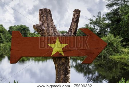 Vietnam wooden sign with a forest background