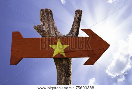 Vietnam wooden sign on a beautiful day