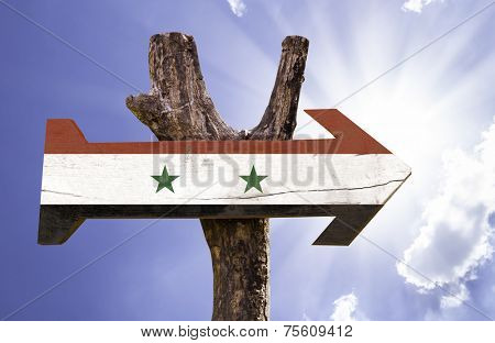 Syria wooden sign on a beautiful day