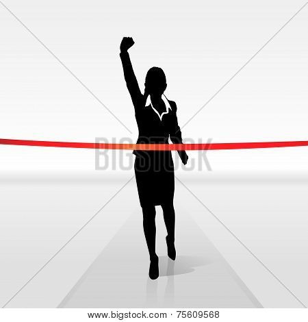 running businesswoman crossing finish line, vector