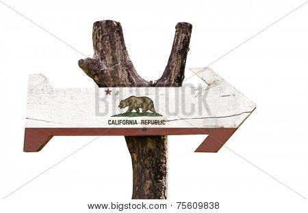 California State wooden sign isolated on white background
