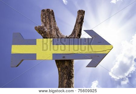 Sweden wooden sign on a beautiful day
