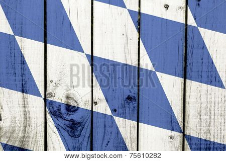 Bavaria flag on wooden background