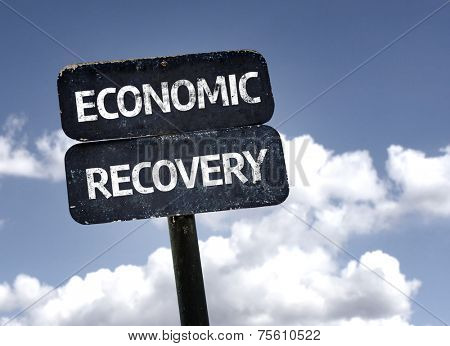Economic Recovery sign with clouds and sky background