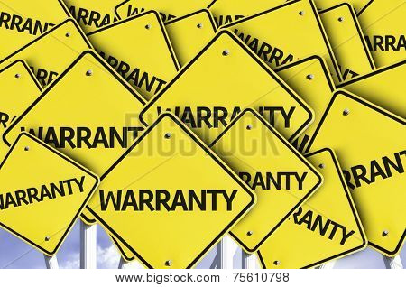 Warranty written on multiple road sign