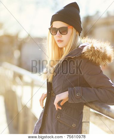 Portrait Stylish Hipster Girl In A Warm Sunny Day, Street Fashion