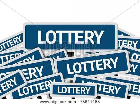 Lottery written on multiple blue road sign