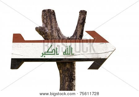 Iraq wooden sign isolated on white background