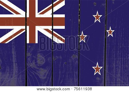 New Zealand flag on wooden background