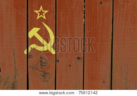 Soviet Union flag on wooden background