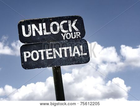 Unlock your Potential sign with clouds and sky background