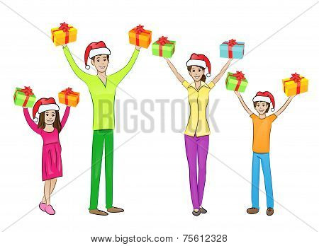 christmas holiday happy family raised hands arms up hold gift box