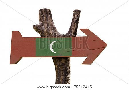 Maldives wooden sign isolated on white background