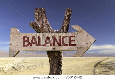 Balance wooden sign with a desert background