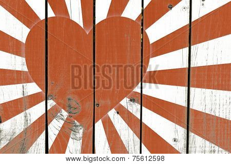 Japanese Heart Flag on wooden background
