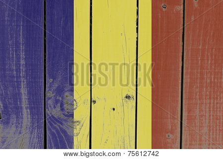 Romania Flag on wooden background