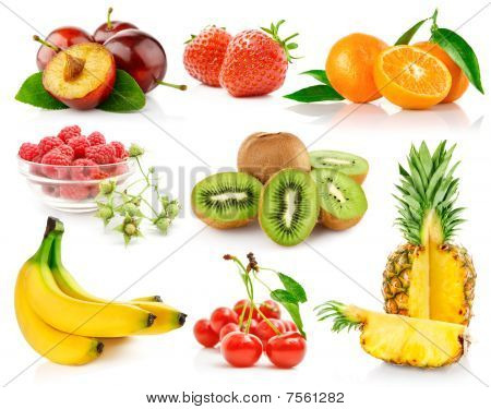 Set Fresh Fruits With Green Leaves