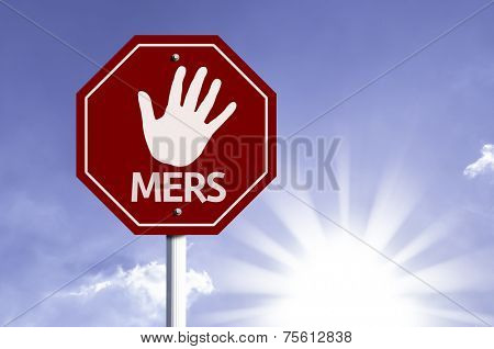 Stop Mers red sign with sun background