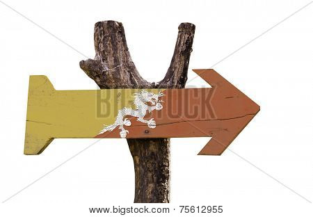 Bhutan wooden sign isolated on white background