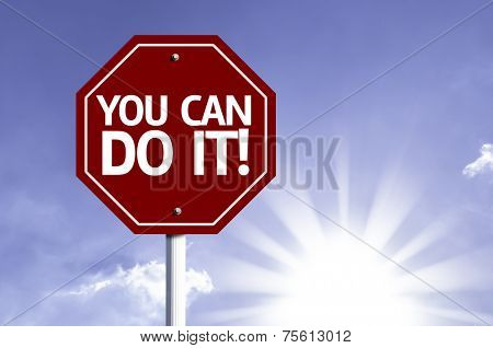 You Can Do IT! red sign with sun background