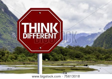 Think Different red sign with a landscape background