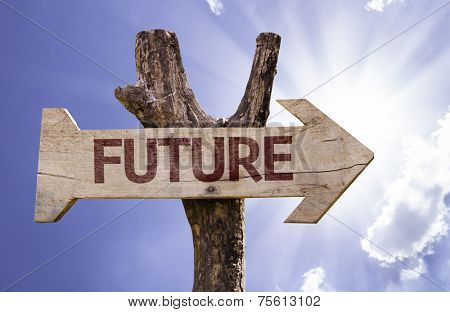 Future sign with a beautiful day on background