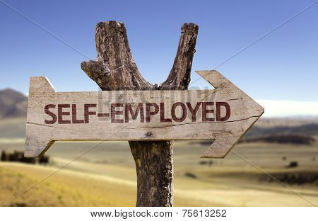 Self-employed wooden sign with a desert background