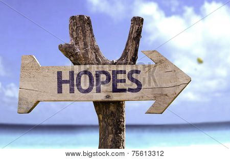 Hopes wooden sign with a beach on background