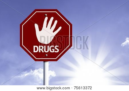 Stop Drugs red sign with sun background