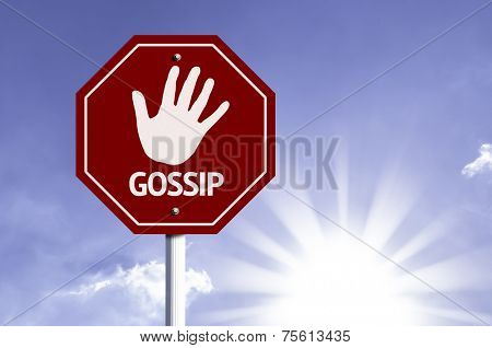 Stop Gossip red sign with sun background