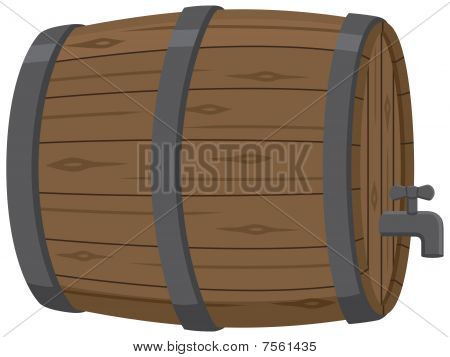 Wooden Beer Keg with Spout