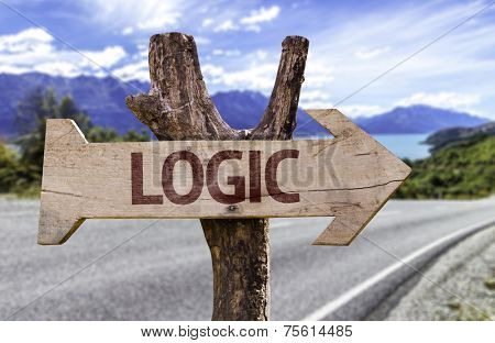 Logic wooden sign with a road background