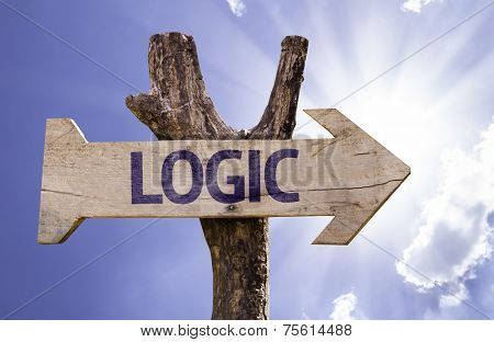 Logic wooden sign on a beautiful day