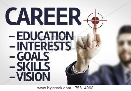 Business man pointing to transparent board with text: Career description