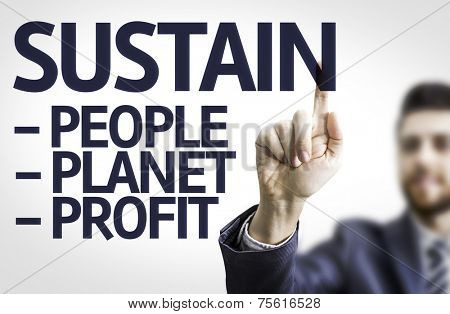 Business man pointing to transparent board with text: Sustain Descriptions
