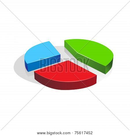 3d pie chart diagram vector business finance
