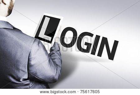 Business man with the text Login in a concept image