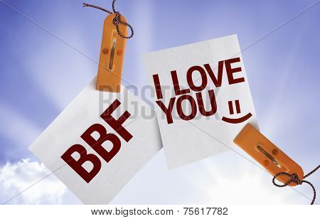 BFF I Love You on Paper Note on sky background
