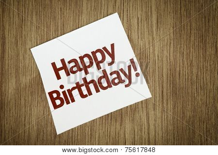 Happy Birthday on Paper Note on texture background