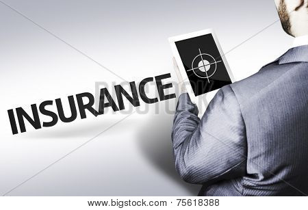 Business man with the text Insurance in a concept image