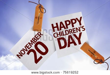 20 November Happy Childrens Day on Paper Note with sky background