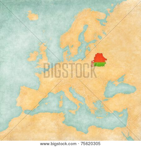 Map Of Europe - Belarus (vintage Series)