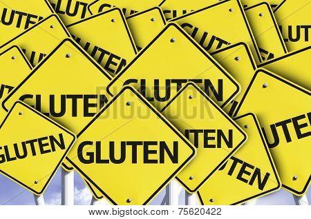 Gluten written on multiple road sign