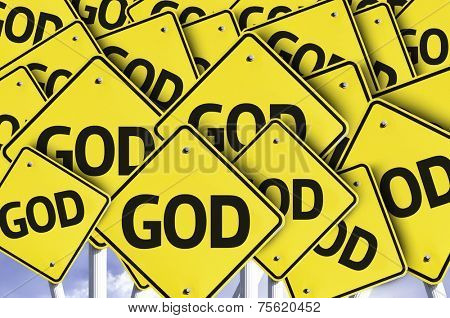 God written on multiple road sign