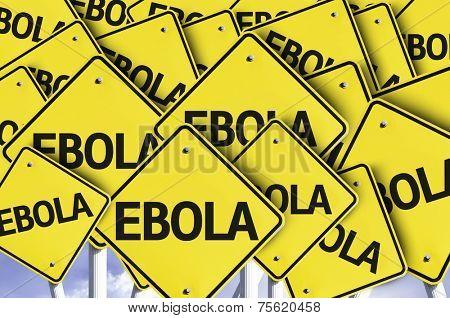 Ebola written on multiple road sign