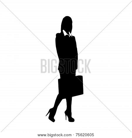 Open Briefcase Silhouette Silhouette Hold Briefcase